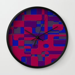 offset puzzle rounded graphic squares in a red and blue colour set Wall Clock