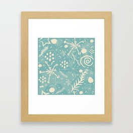 Winter Snowflakes and Doodles Framed Art Print