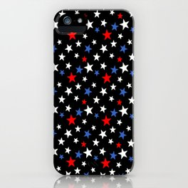 Bold Patriotic Stars In Red White and Blue on Black iPhone Case