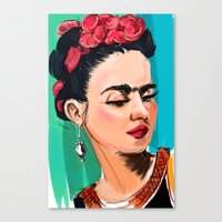 frida Canvas Prints featuring Frida by Jaleesa McLean