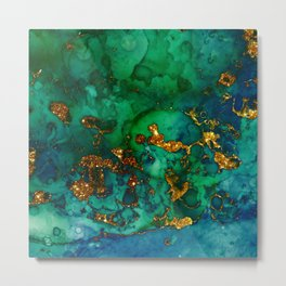 Emerald And Blue Glitter Marble Metal Print