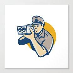 policeman with police speed camera retro Canvas Print