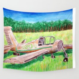 The Remains of a Plane Remain Mainly in a Plain Wall Tapestry