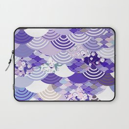 Nature background with japanese sakura flower, Cherry, wave circle. Ultra Violet Color of the Year Laptop Sleeve