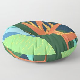 Quiet in Paradise - Tropical Bird of Paradise Illustration Floor Pillow