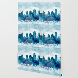 Blue Watercolor Dallas skyline design Wallpaper
