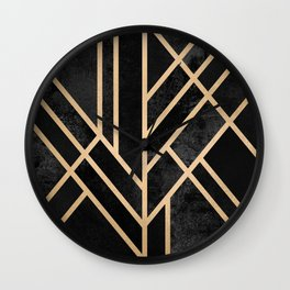 Art Deco Black Wall Clock
