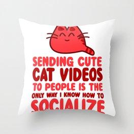 Cute Cat Videos Throw Pillow