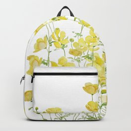 yellow buttercup flowers filed watercolor  Backpack