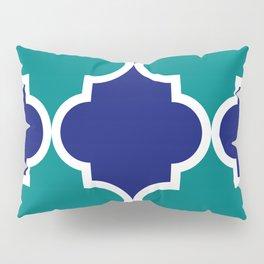 Quatrefoil large blue green Pillow Sham