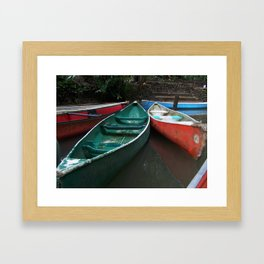 Colorful Canoes Framed Art Print