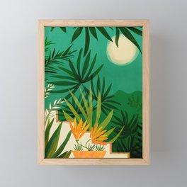 Exotic Garden Nightscape / Tropical Scene Framed Mini Art Print