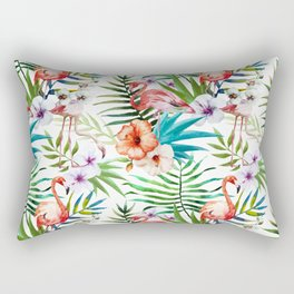 Tropical pink flamingo pattern Rectangular Pillow
