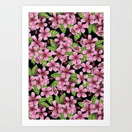 Pink Crabapple Blossoms - Floral Pattern Art Print
