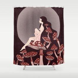 Mushroom Queen, 70s, 60s, 1920s, art nouveau inspired art Shower Curtain