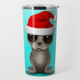 Christmas Seal Wearing a Santa Hat Travel Mug