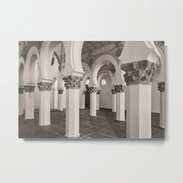 The Historic Arches in the Synagogue of Santa María la Blanca, Toledo Spain (2) Metal Print