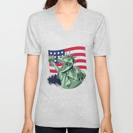 Best liberty t rex design online Unisex V-Neck