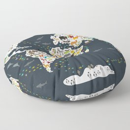 Cartoon animal world map for kids, back to schhool. Animals from all over the world Floor Pillow