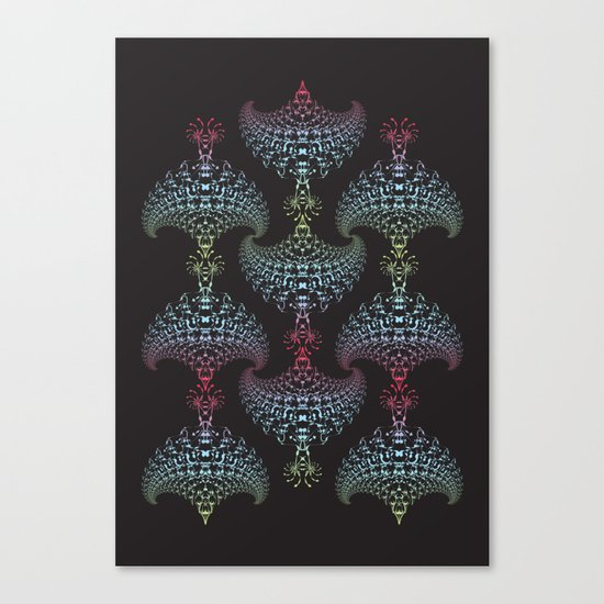 Tribal Eagle Rainbow Pattern on black Canvas Print