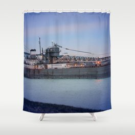 Great Lakes Freighter At Sunset - 2 Shower Curtain