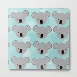 koala Seamless pattern with funny cute animal face on a blue background Metal Print