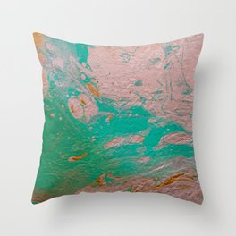 Original Splatter Pour - Silver/Teal/Gold Throw Pillow