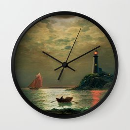 A New England Lighthouse Under the Silver Moon by James Gale Tyler Wall Clock