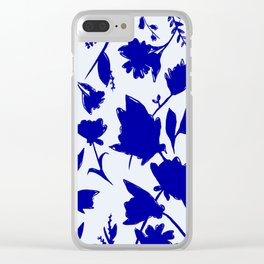 Floral Blue Shadow Clear iPhone Case