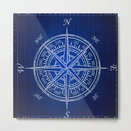 Nautical Compass, Blueprint, Coastal, Beach Condo Art Metal Print