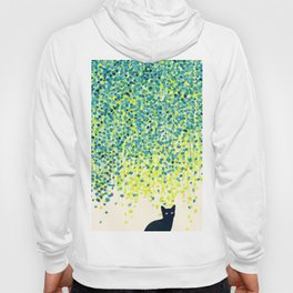 Cat in the garden under willow tree Hoody