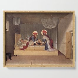 Fra Angelico - The Healing of Justinian by Saint Cosmas and Saint Damian Serving Tray
