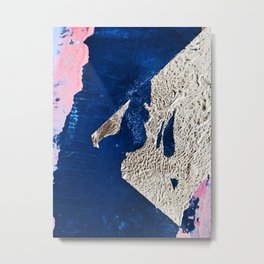 By the Bay: a minimal abstract mixed-media piece in blue gold and pink by Alyssa Hamilton Art Metal Print