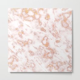 Luxury Rose Gold Elegant Marble Metal Print