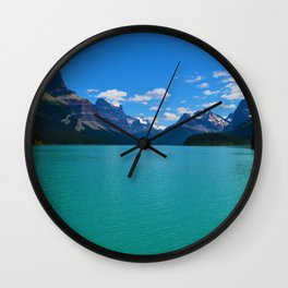 """Hall of Gods"" Maligne Lake in Jasper National Park, Canada Wall Clock"