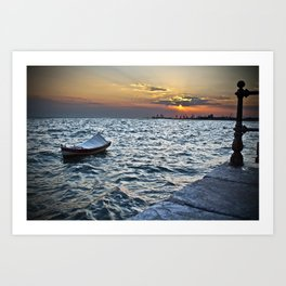 The Boat and the Sunset Art Print
