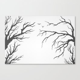 dried tree branches with birds and leaves on a light background Canvas Print