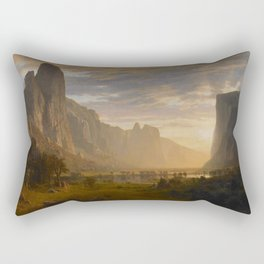 Looking Down Yosemite Valley California By Albert Bierstadt | Reproduction Painting Rectangular Pillow