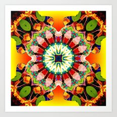 Glowing Mixed Media Mandala Art Print