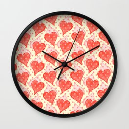 Vintage red hearts with little pink dots Wall Clock