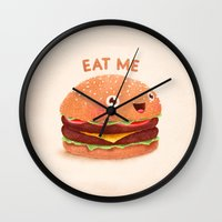 burger Wall Clocks featuring Burger by Lime