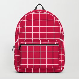 Carmine (M&P) - fuchsia color - White Lines Grid Pattern Backpack