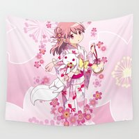 madoka Wall Tapestries featuring Madoka Kaname (Yukata & Cherry Blossom edit) by Yue Graphic Design
