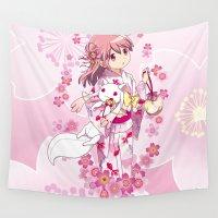 madoka magica Wall Tapestries featuring Madoka Kaname (Yukata & Cherry Blossom edit) by Yue Graphic Design