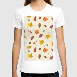 Autumn ivory gold brown fall leaves pattern T-shirt