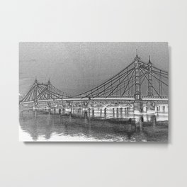 Albert Bridge London Digital Art Metal Print