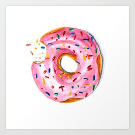 Bitten doughnut Art Print