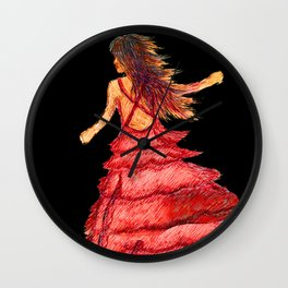 Mysterious Lady in Red Wall Clock