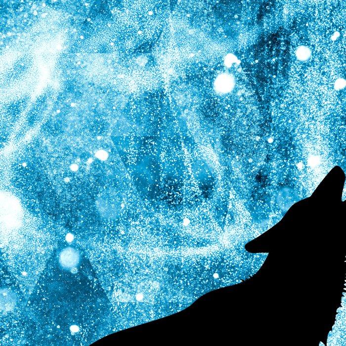 Howling Winter Wolf snowy blue smoke Leggings