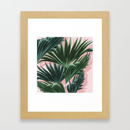 Pink and green palm trees Framed Art Print